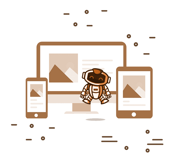 Illustration of a cartoon astronaut hopping infront of a laptop, phone and tablet screen. The astronauts eyes visible through the visor make it apparent that they are smiling.