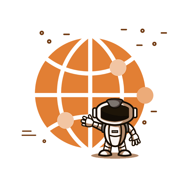 Illustration of a cartoon astronaut waving at the camera, standing infront of a large orange icon of the world wide web.